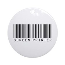 Screen Printer Barcode Ornament (Round)