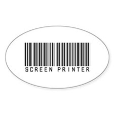 Screen Printer Barcode Oval Decal