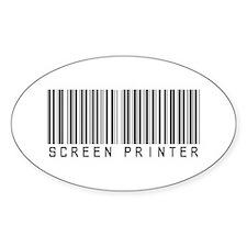 Screen Printer Barcode Oval Sticker (10 pk)