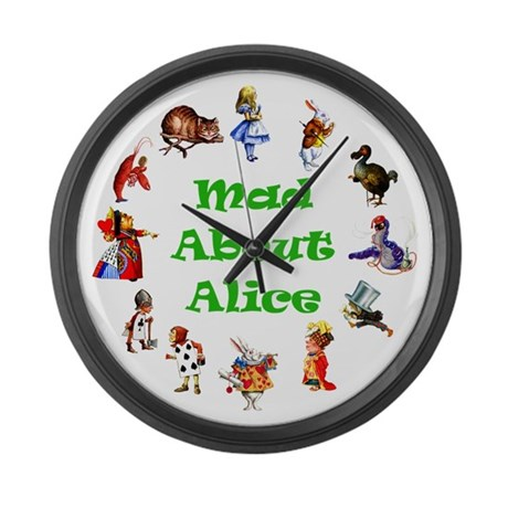 MAD ABOUT ALICE - GREEN Large Wall Clock