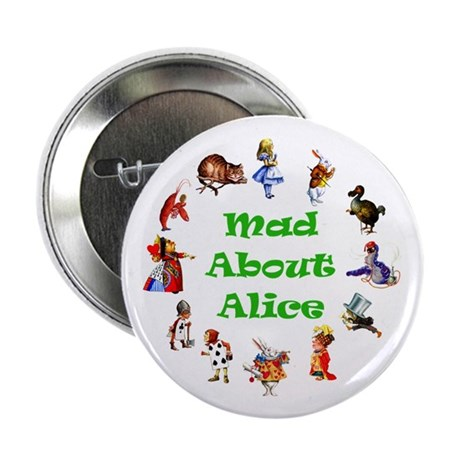 """MAD ABOUT ALICE - GREEN 2.25"""" Button (10 pack)"""