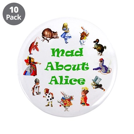 """MAD ABOUT ALICE - GREEN 3.5"""" Button (10 pack)"""