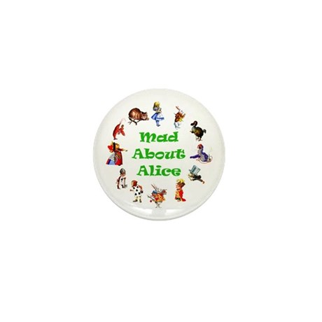MAD ABOUT ALICE - GREEN Mini Button (100 pack)
