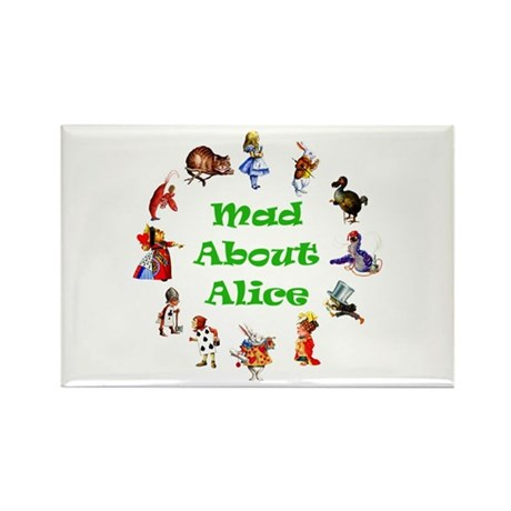 MAD ABOUT ALICE - GREEN Rectangle Magnet