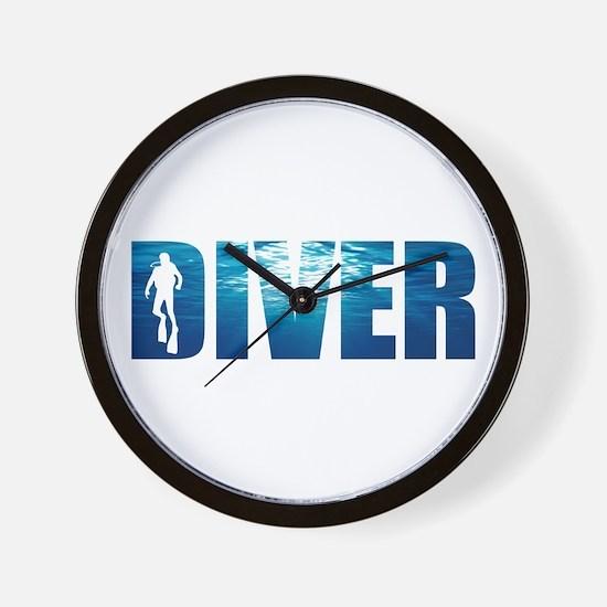 Diver Blue Wall Clock