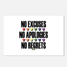 No Excuses, No Apologies, No Regrets Postcards (Pa