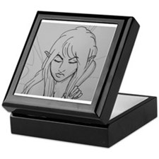 Fairy's Face in Black and White Keepsake Box