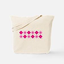 Flower Argyle in Pink Tote Bag