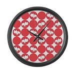 Kitty Cat Polka Dots Large Wall Clock