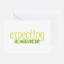 Expecting a miracle GREEN Greeting Cards