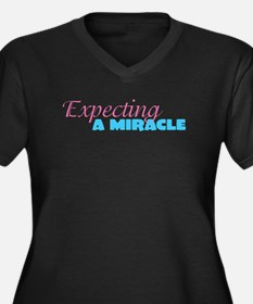 Miracles Women's Plus Size V-Neck Dark T-Shirt