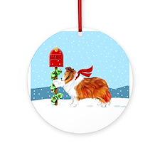 Sable Sheltie Mail Ornament (Round)