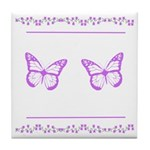 Butterflies and Flowers Tile Coaster