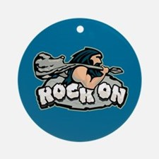 Rock On Guitar Caveman Ornament (Round)