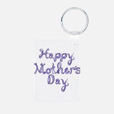 Happy Mother's Day fabric font blue Keychains