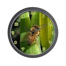 White Flower Bee Wall Clock