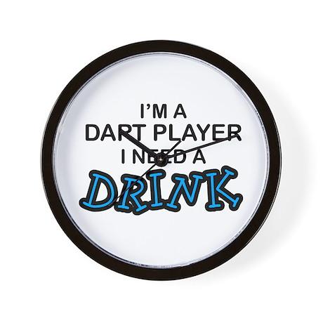 Dart Player Need a Drink Wall Clock