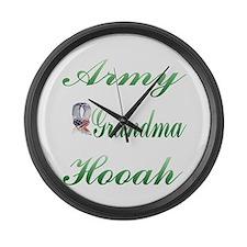 army grandma hooah Large Wall Clock