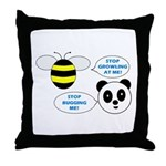 Bee & Panda Attitude/Humor Throw Pillow