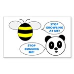 Bee & Panda Attitude/Humor Rectangle Sticker 50 p