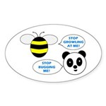 Bee & Panda Attitude/Humor Oval Sticker (10 pk)