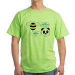 Bee & Panda Attitude/Humor Green T-Shirt