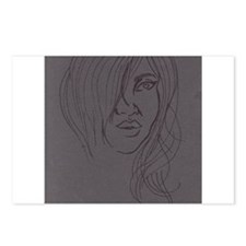 Lady's Face on Gray Postcards (Package of 8)