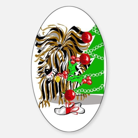 A Very Yorkie Christmas! Oval Decal