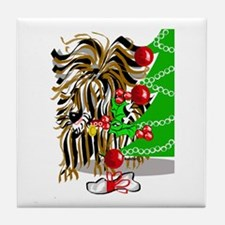 A Very Yorkie Christmas! Tile Coaster