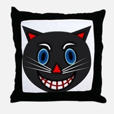 Vintage Black Cat Throw Pillow