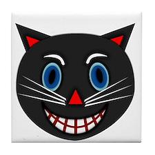 Vintage Black Cat Tile Coaster