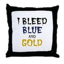 I Bleed Blue & Gold Throw Pillow