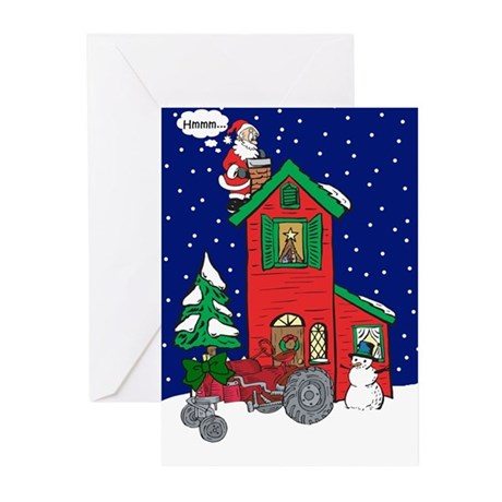 Vintage Tractor For Christmas Greeting Cards (Pk o