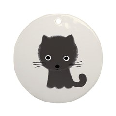 Grey Kitty Ornament (Round)