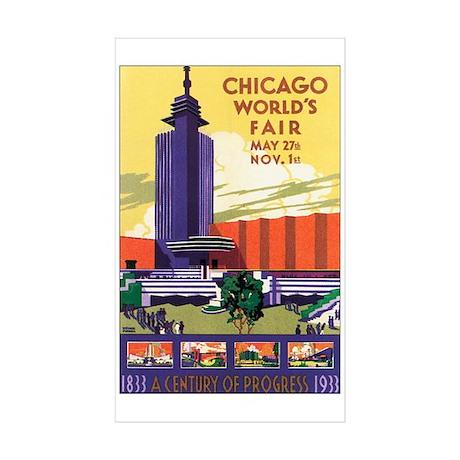 Chicago World's Fair 1933 Rectangle Sticker 50 pk