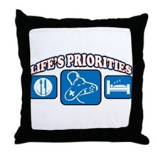Life's Priorities Video Games Throw Pillow