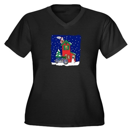 A Motorcycle For Christmas Women's Plus Size V-Nec