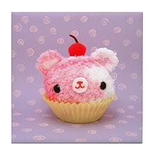 Amigurumi Berry Swirl Cupcake Bear Tile Coaster