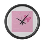 Pink Ribbon Butterfly Large Wall Clock