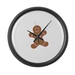 Pink Ribbon Gingerbread Man S Large Wall Clock