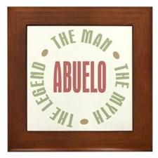 Abuelo Man Myth Legend Framed Tile