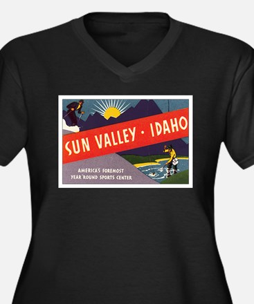 Sun Valley Idaho Women's Plus Size V-Neck Dark T-S