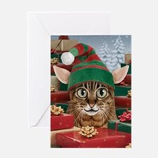 Santa's Elf Cat Christmas Card