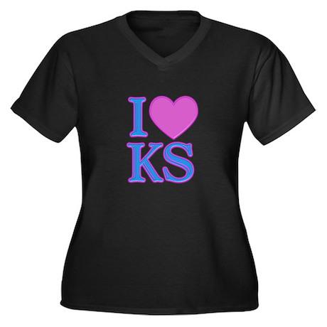 I Love KS Women's Plus Size V-Neck Dark T-Shirt