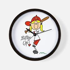Girls Baseball Batter Up Wall Clock