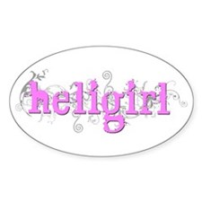 CurlyHeliGirl Pink Oval Bumper Stickers
