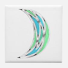 Celtic Moon Blue-Green Tile Coaster
