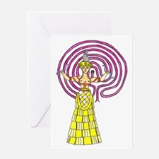 Crete Goddess Color 1 Greeting Card