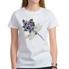 Dragonfly and Pansy Floral Tee