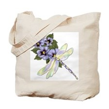 Dragonfly and Pansy Floral Tote Bag